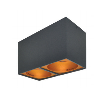 Rettangolare stropna lampa 2x130 GU10 2x50W max. IP20 - Tamno sivo/zlatno