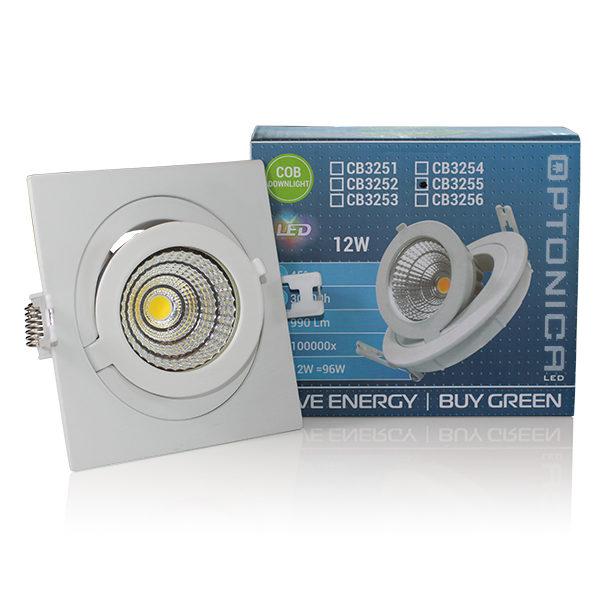 LED COB 12W downlight kvadratni