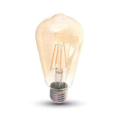 LED žarulja E27 6W filament Amber cover ST64