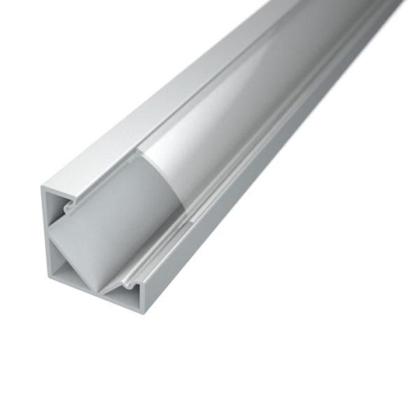Profil za LED traku kutni 1 + prozirni poklopac