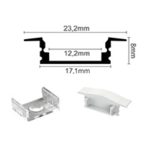 Profil za LED traku ugradni 1 + mliječni poklopac, 2m
