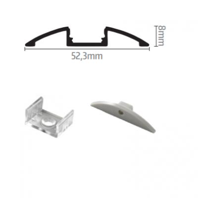 Profil za LED traku nadgradni 4 + mliječni poklopac, 2m