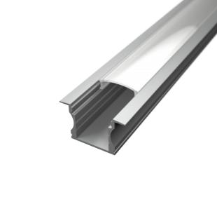 Profil za LED traku ugradni 2 + mliječni poklopac, 2m