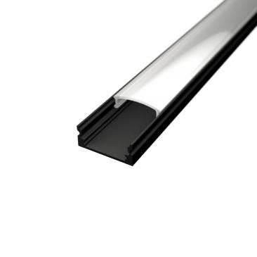 Profil za LED traku nadgradni crni + mliječni poklopac, 2m