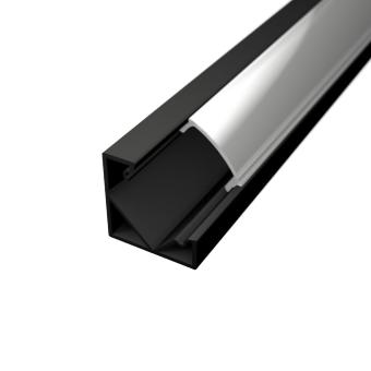 Profil za LED traku kutni crni + mliječni poklopac, 2m