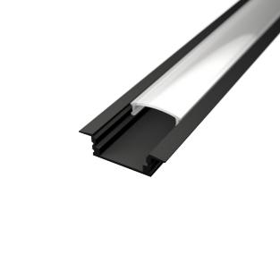 Profil za LED traku ugradni crni + mliječni poklopac, 2m