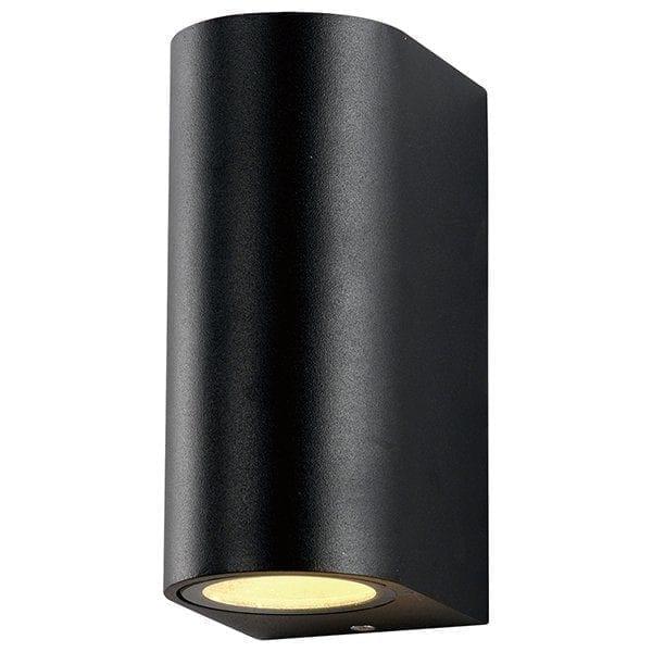 Zidna lampa aluminij crna 2xGU10 IP54
