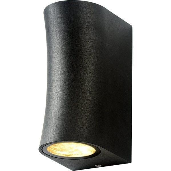 Zidna lampa 3 aluminij crna 2xGU10 IP44