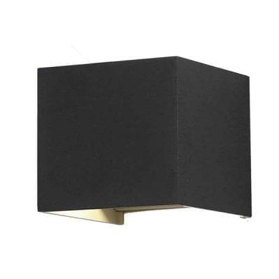 LED zidna lampa kvadratna 6W 660lm IP54, crna, 3000K